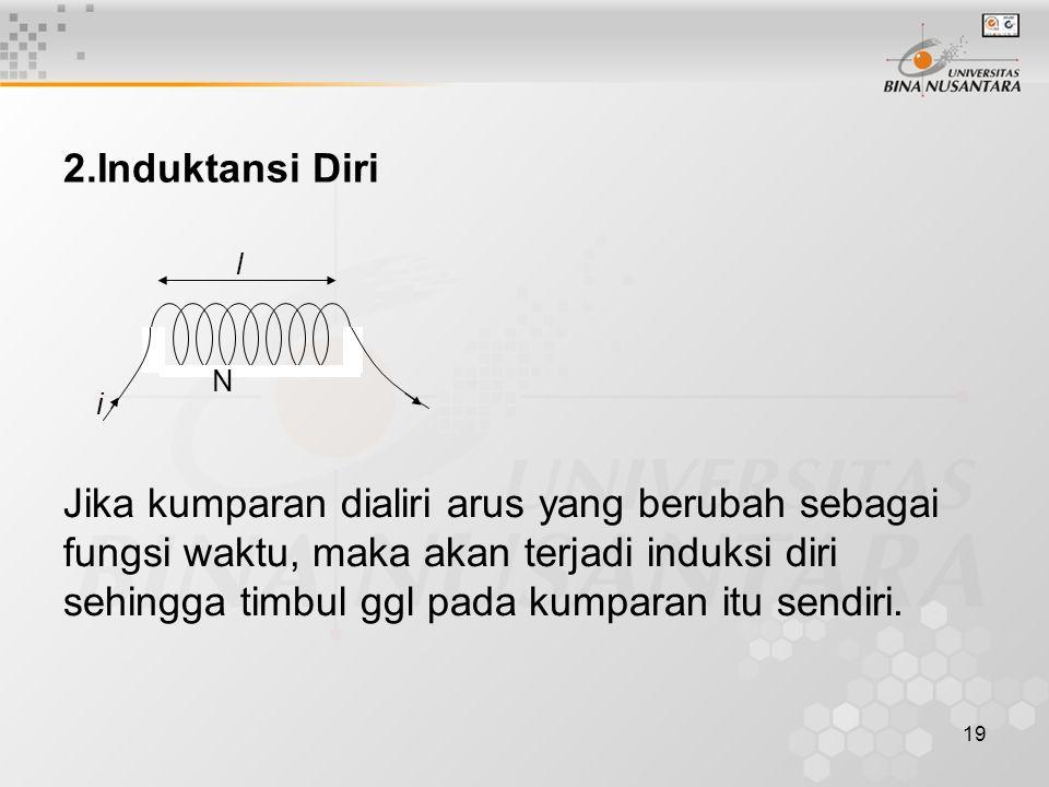 19 2.Induktansi Diri l i N Jika kumparan dialiri arus yang berubah sebagai fungsi waktu, maka akan terjadi induksi diri sehingga timbul ggl pada kumpa