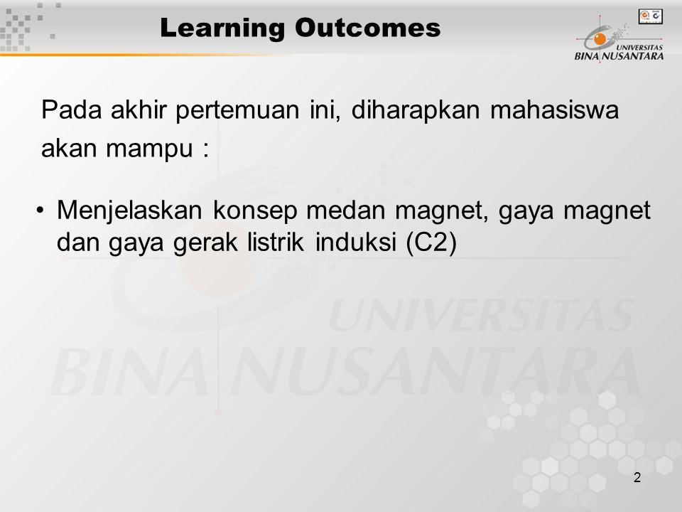 2 Learning Outcomes Pada akhir pertemuan ini, diharapkan mahasiswa akan mampu : Menjelaskan konsep medan magnet, gaya magnet dan gaya gerak listrik in