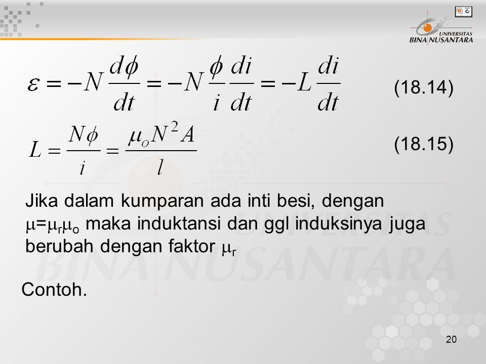 20 (18.14) (18.15) Jika dalam kumparan ada inti besi, dengan  =  r  o maka induktansi dan ggl induksinya juga berubah dengan faktor  r Contoh.