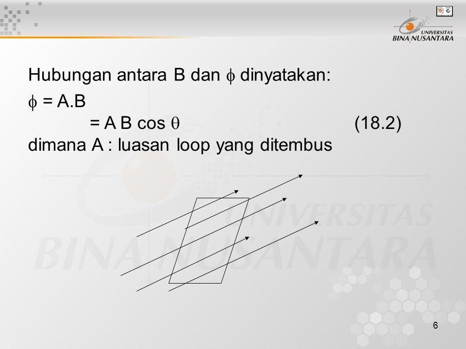 6 Hubungan antara B dan  dinyatakan:  = A.B = A B cos  (18.2) dimana A : luasan loop yang ditembus