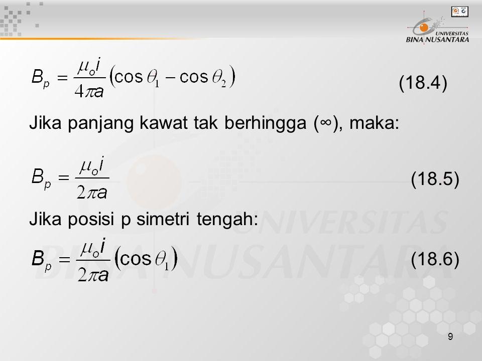 9 (18.4) Jika panjang kawat tak berhingga (∞), maka: Jika posisi p simetri tengah: (18.5) (18.6)