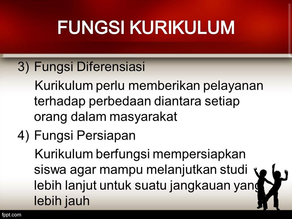 3)Fungsi Diferensiasi Kurikulum perlu memberikan pelayanan terhadap perbedaan diantara setiap orang dalam masyarakat 4)Fungsi Persiapan Kurikulum berf