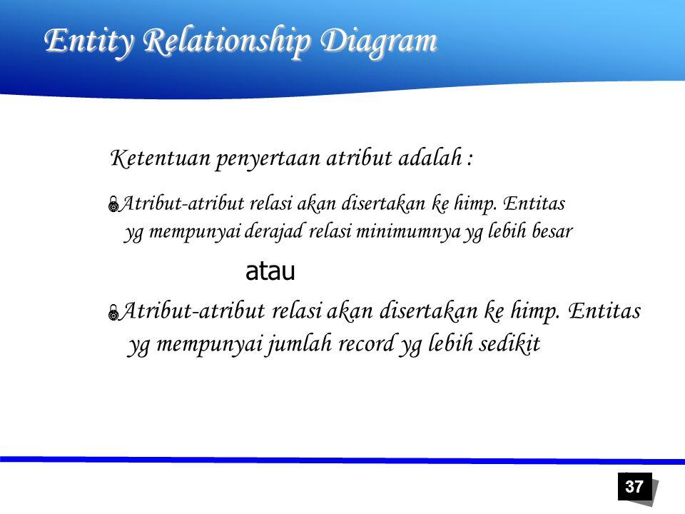37 Entity Relationship Diagram Ketentuan penyertaan atribut adalah : atau  Atribut-atribut relasi akan disertakan ke himp. Entitas yg mempunyai deraj
