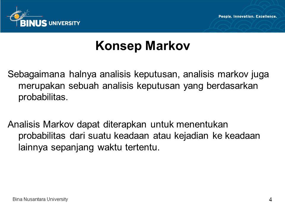 Analisis Markov dapat digunakan untuk menganalisis sejumlah keputusan yang berbeda, satu di antara aplikasi yang paling populer adalah analisis brand switching.