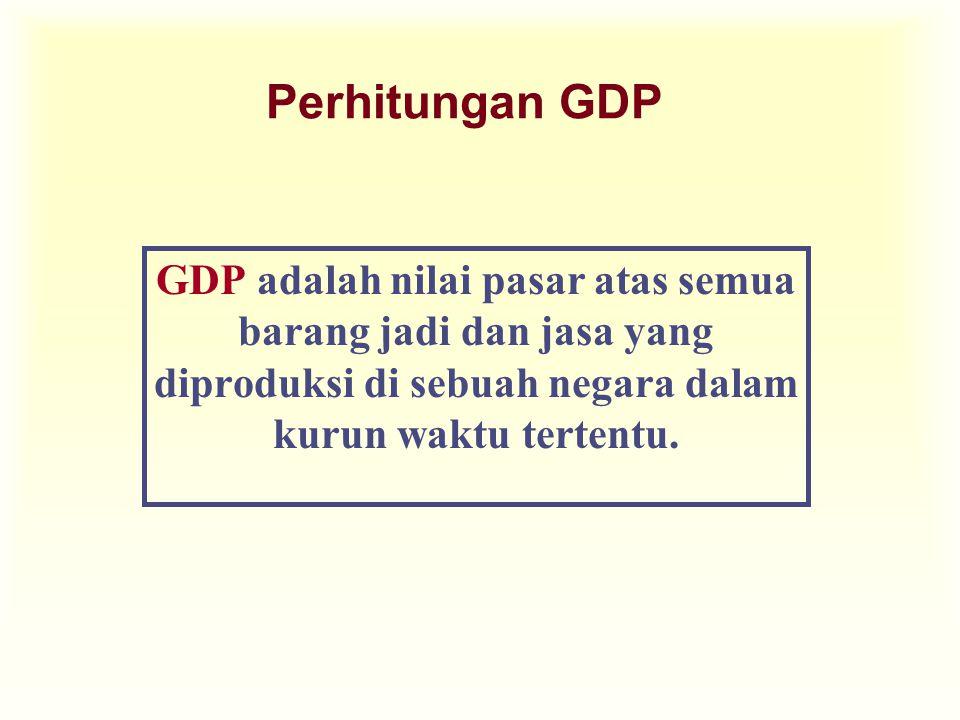 Perhitungan GDP u Output yang dinilai adalah Harga Pasar.