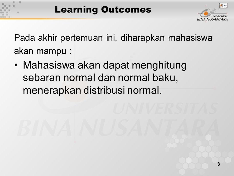33 Learning Outcomes Pada akhir pertemuan ini, diharapkan mahasiswa akan mampu : Mahasiswa akan dapat menghitung sebaran normal dan normal baku, mener
