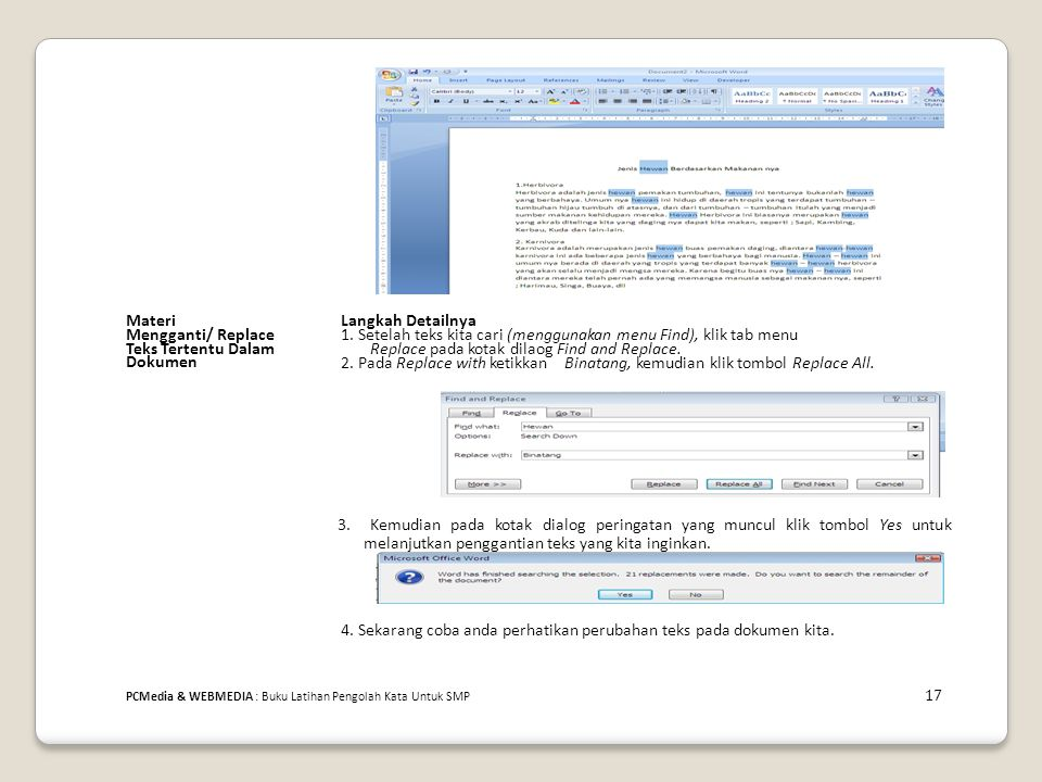 MateriLangkah Detailnya Mengganti/ Replace1. Setelah teks kita cari (menggunakan menu Find), klik tab menu Teks Tertentu DalamReplace pada kotak dilao