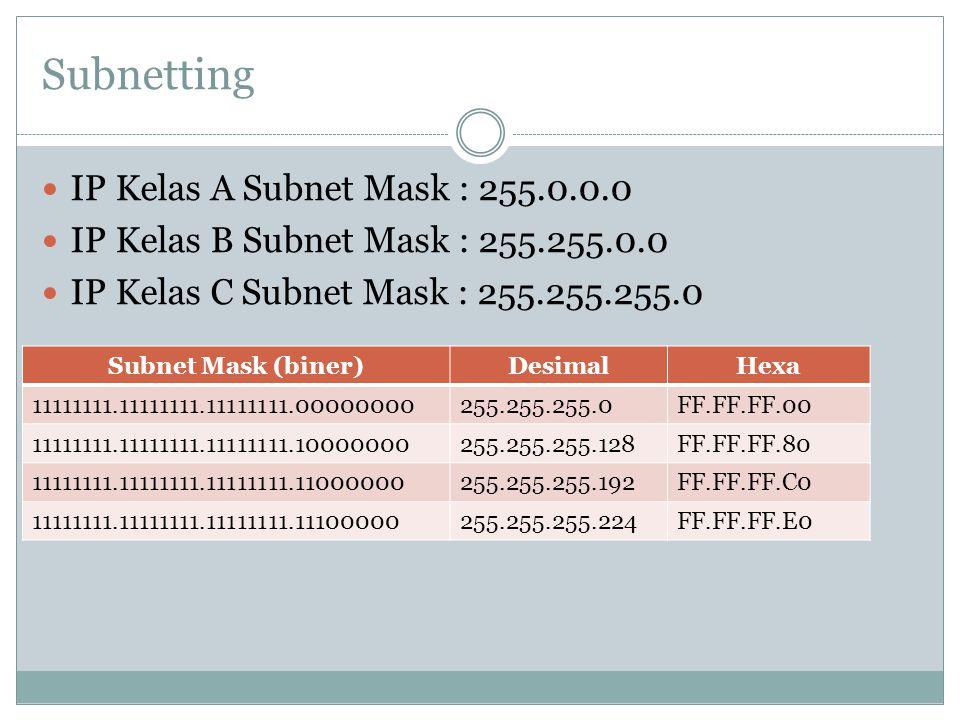 Subnetting IP Kelas A Subnet Mask : 255.0.0.0 IP Kelas B Subnet Mask : 255.255.0.0 IP Kelas C Subnet Mask : 255.255.255.0 Subnet Mask (biner)DesimalHe
