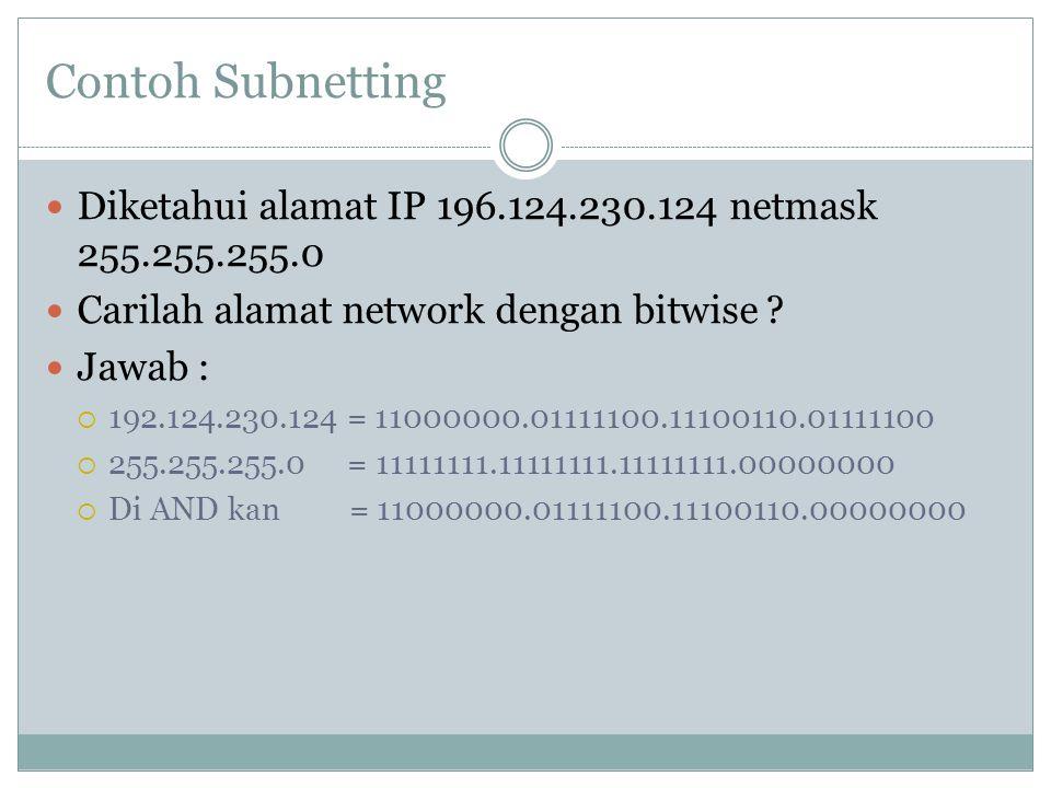 Contoh Subnetting Diketahui alamat IP 196.124.230.124 netmask 255.255.255.0 Carilah alamat network dengan bitwise ? Jawab :  192.124.230.124 = 110000