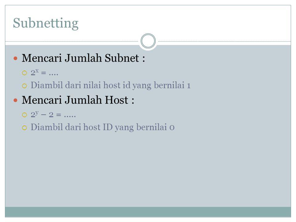 Subnetting Mencari Jumlah Subnet :  2 x =....  Diambil dari nilai host id yang bernilai 1 Mencari Jumlah Host :  2 y – 2 =.....  Diambil dari host