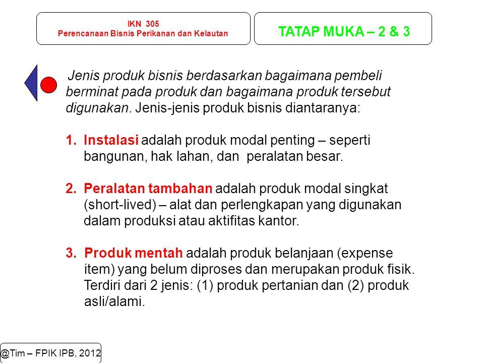 IKN 305 Perencanaan Bisnis Perikanan dan Kelautan TATAP MUKA – 2 & 3 @Tim – FPIK IPB, 2012 Jenis produk bisnis berdasarkan bagaimana pembeli berminat