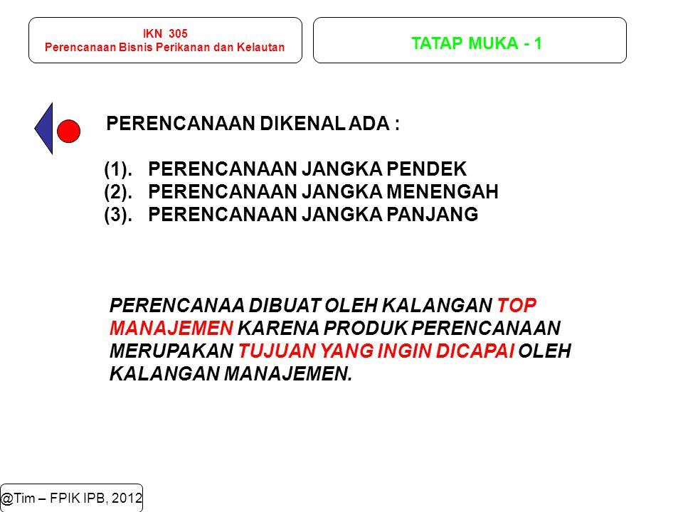 IKN 305 Perencanaan Bisnis Perikanan dan Kelautan TATAP MUKA - 1 @Tim – FPIK IPB, 2012 PERENCANAAN DIKENAL ADA : (1). PERENCANAAN JANGKA PENDEK (2). P