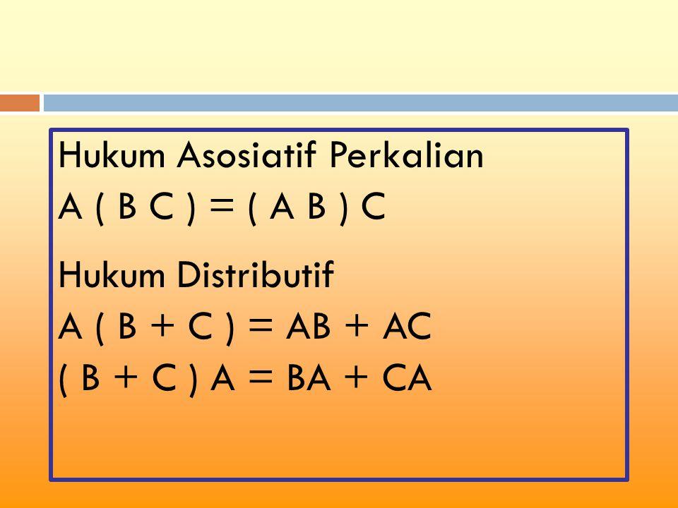 Hukum Asosiatif Perkalian A ( B C ) = ( A B ) C Hukum Distributif A ( B + C ) = AB + AC ( B + C ) A = BA + CA