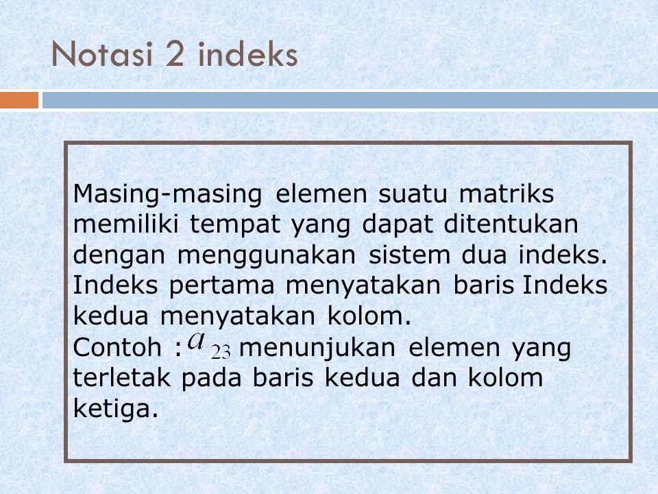 Masing-masing elemen suatu matriks memiliki tempat yang dapat ditentukan dengan menggunakan sistem dua indeks. Indeks pertama menyatakan baris Indeks