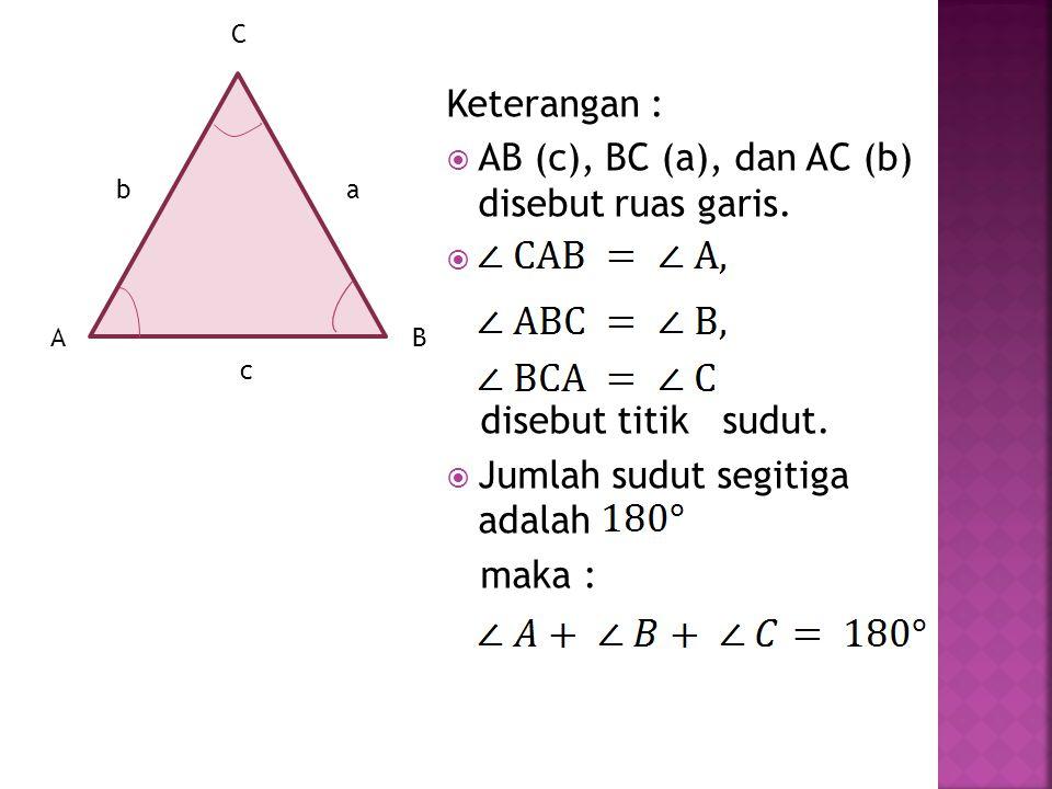 Segitiga adalah suatu bangun datar yang dibatasi oleh tiga ruas garis dan memiliki tiga titik sudut. A A C C B B