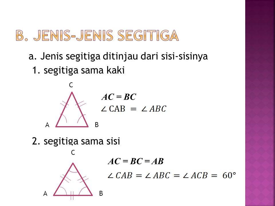 Keterangan :  AB (c), BC (a), dan AC (b) disebut ruas garis.  disebut titik sudut.  Jumlah sudut segitiga adalah maka : B ba c C A