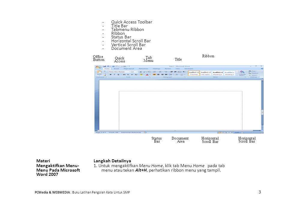 - Quick Access Toolbar - Title Bar - Tabmenu Ribbon - Ribbon - Status Bar - Horizontal Scroll Bar - Vertical Scroll Bar - Document Area Ribbon Office