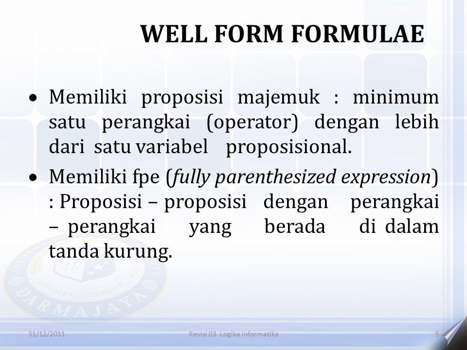  Memiliki proposisi majemuk : minimum satu perangkai (operator) dengan lebih dari satu variabel proposisional.  Memiliki fpe (fully parenthesized ex