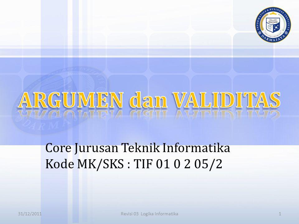 Core Jurusan Teknik Informatika Kode MK/SKS : TIF 01 0 2 05/2 131/12/2011Revisi 03 Logika Informatika