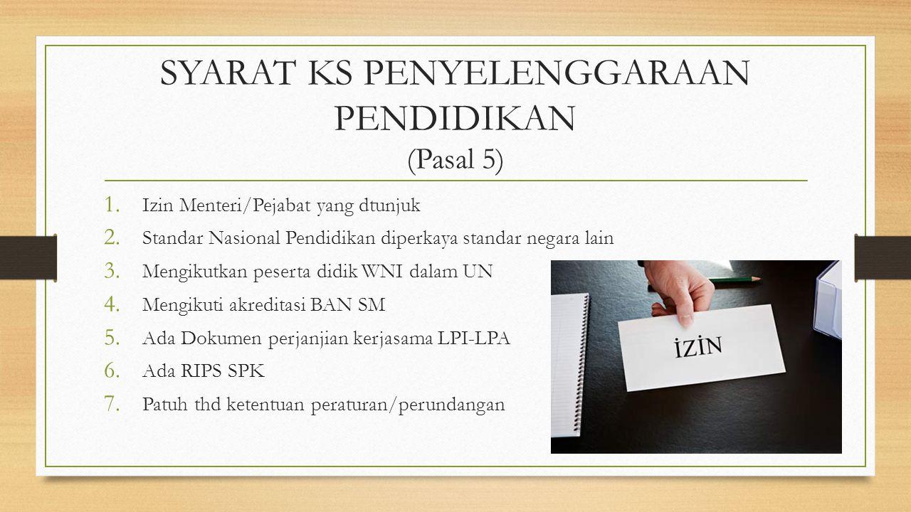 SYARAT KS PENYELENGGARAAN PENDIDIKAN (Pasal 5) 1. Izin Menteri/Pejabat yang dtunjuk 2. Standar Nasional Pendidikan diperkaya standar negara lain 3. Me