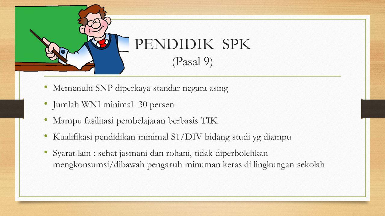 PENDIDIK SPK (Pasal 9) Memenuhi SNP diperkaya standar negara asing Jumlah WNI minimal 30 persen Mampu fasilitasi pembelajaran berbasis TIK Kualifikasi