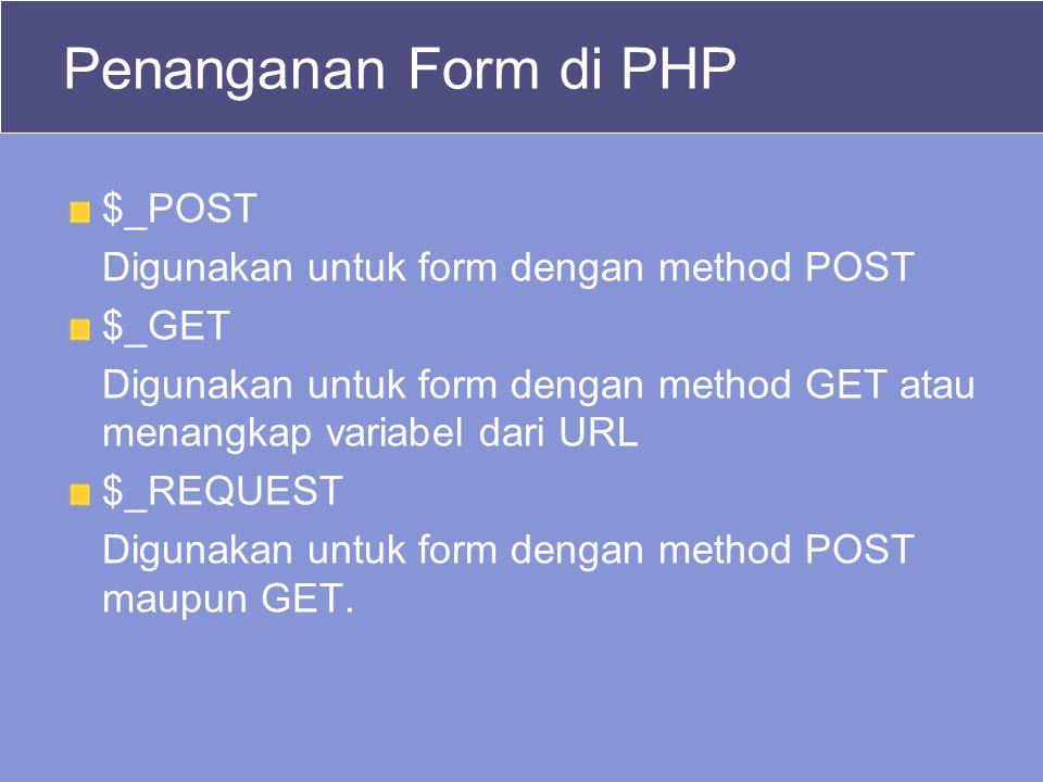 Penanganan Form di PHP $_POST Digunakan untuk form dengan method POST $_GET Digunakan untuk form dengan method GET atau menangkap variabel dari URL $_REQUEST Digunakan untuk form dengan method POST maupun GET.