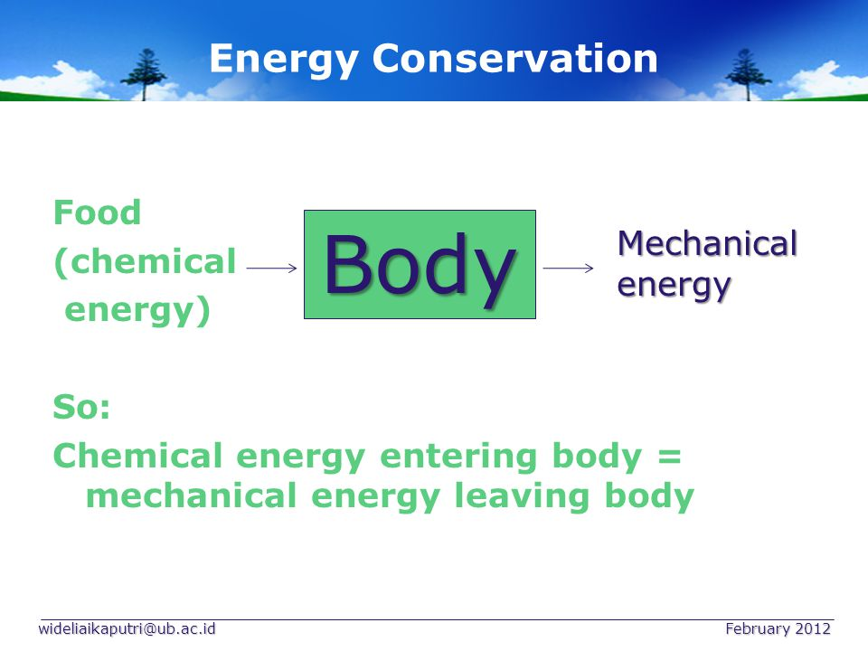 Energy Conservation So: The heat lost by the heating water = the heat gained by the milk + the heat lost from heat exchanger to its surroundings wideliaikaputri@ub.ac.id February 2012 Heat exchanger Heating water Heating milk cool water heat lost Milk