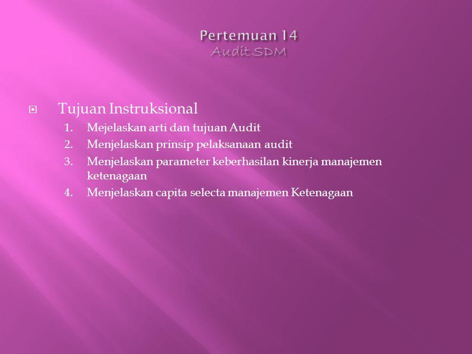  Tujuan Instruksional 1. Mejelaskan arti dan tujuan Audit 2.
