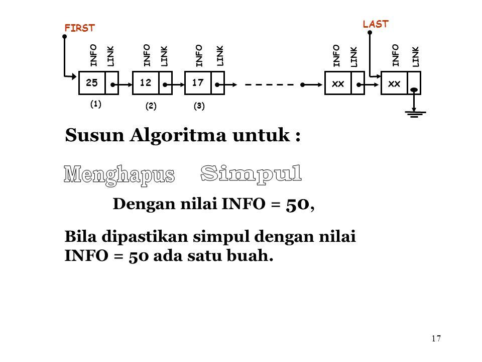 17 Susun Algoritma untuk : (1) 12 FIRST INFO LINK 17 INFO LINK xx INFO LINK xx LAST INFO LINK (2)(3) 25 INFO LINK Dengan nilai INFO = 50, Bila dipasti