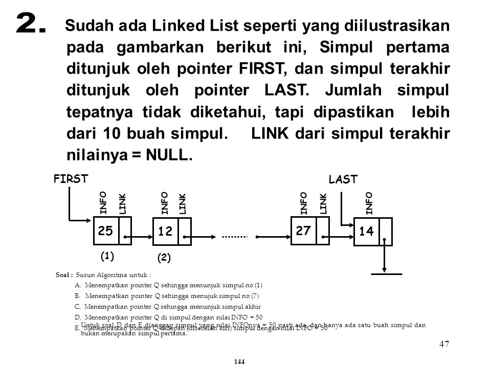 47 Sudah ada Linked List seperti yang diilustrasikan pada gambarkan berikut ini, Simpul pertama ditunjuk oleh pointer FIRST, dan simpul terakhir ditun