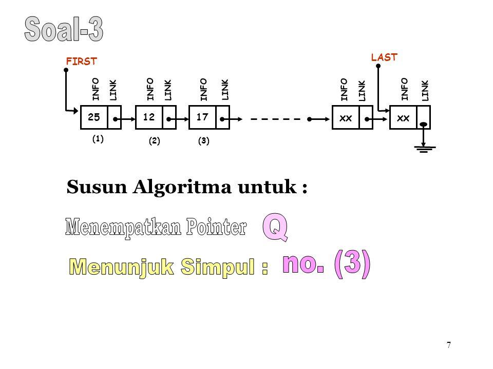 7 Susun Algoritma untuk : (1) 12 FIRST INFO LINK 17 INFO LINK xx INFO LINK xx LAST INFO LINK (2)(3) 25 INFO LINK