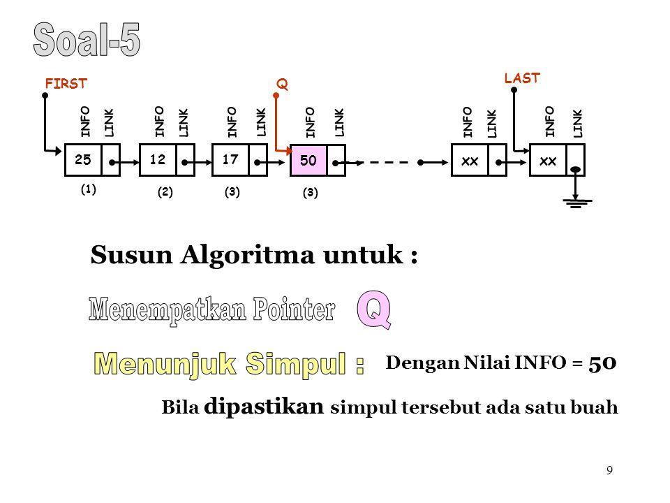 9 Susun Algoritma untuk : (1) 12 FIRST INFO LINK 17 INFO LINK xx INFO LINK xx LAST INFO LINK (2)(3) 25 INFO LINK Dengan Nilai INFO = 50 Bila dipastika