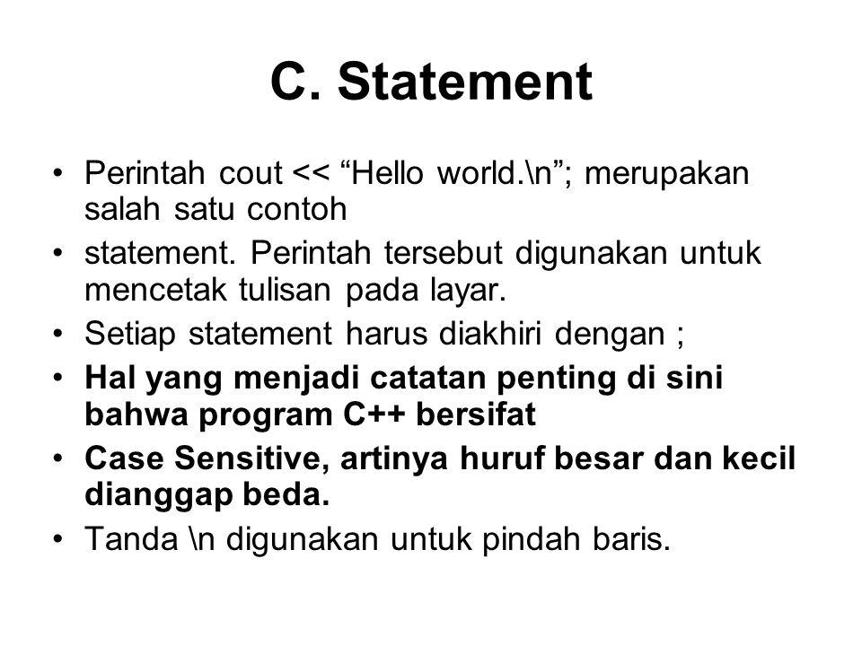 contoh program yang menggambarkan deklarasi variabel dan assignment.