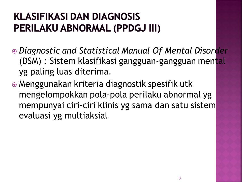  Diagnostic and Statistical Manual Of Mental Disorder (DSM) : Sistem klasifikasi gangguan-gangguan mental yg paling luas diterima.  Menggunakan krit