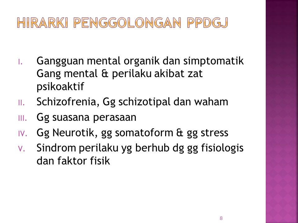I. Gangguan mental organik dan simptomatik Gang mental & perilaku akibat zat psikoaktif II. Schizofrenia, Gg schizotipal dan waham III. Gg suasana per