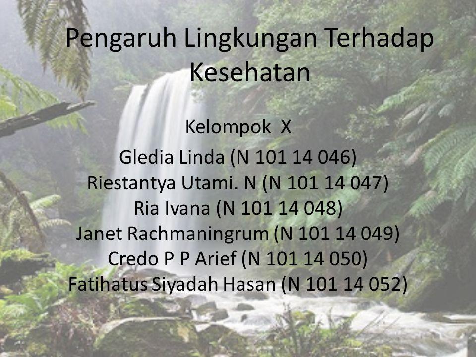 Pengaruh Lingkungan Terhadap Kesehatan Kelompok X Gledia Linda (N 101 14 046) Riestantya Utami. N (N 101 14 047) Ria Ivana (N 101 14 048) Janet Rachma