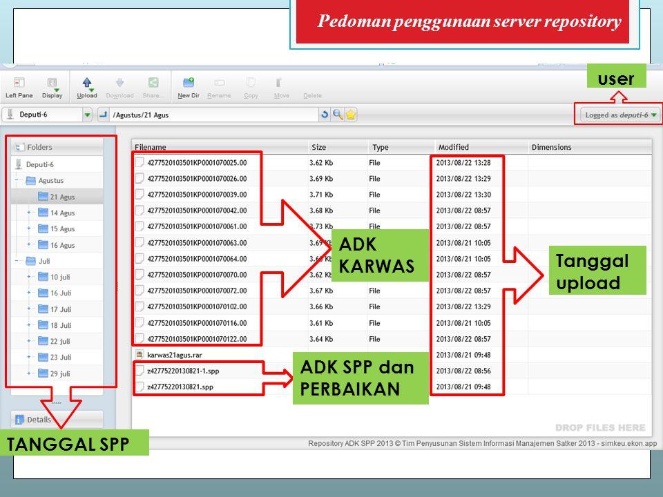 ADK KARWAS ADK SPP dan PERBAIKAN TANGGAL SPP Tanggal upload user Pedoman penggunaan server repository