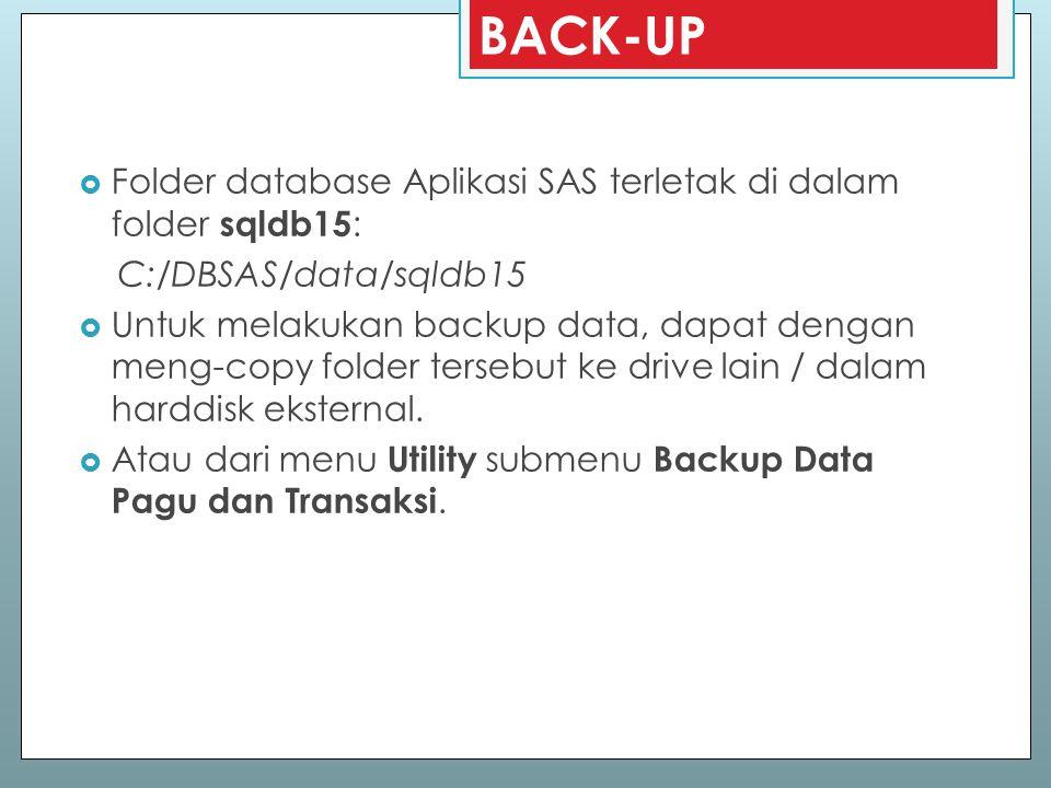BACK-UP  Folder database Aplikasi SAS terletak di dalam folder sqldb15 : C:/DBSAS/data/sqldb15  Untuk melakukan backup data, dapat dengan meng-copy
