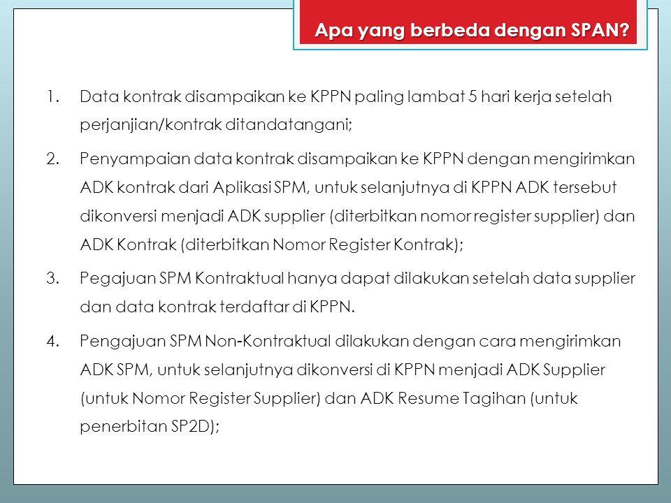 1.Data kontrak disampaikan ke KPPN paling lambat 5 hari kerja setelah perjanjian/kontrak ditandatangani; 2.Penyampaian data kontrak disampaikan ke KPP