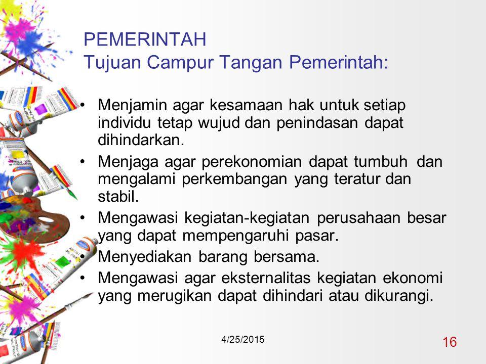 4/25/2015 16 PEMERINTAH Tujuan Campur Tangan Pemerintah: Menjamin agar kesamaan hak untuk setiap individu tetap wujud dan penindasan dapat dihindarkan.
