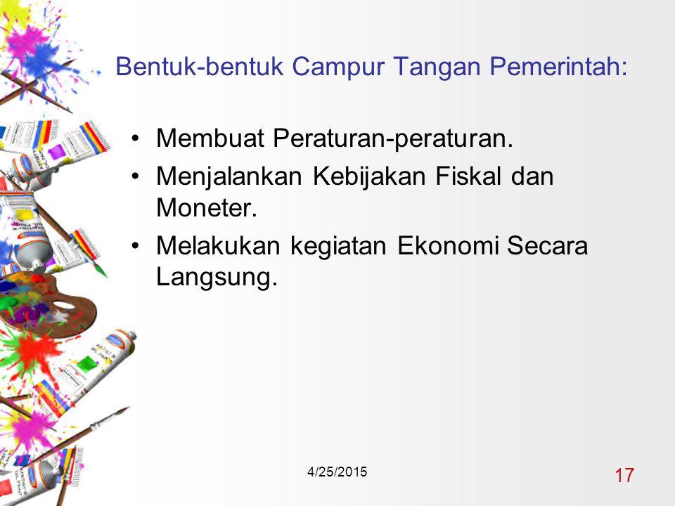 4/25/2015 17 Bentuk-bentuk Campur Tangan Pemerintah: Membuat Peraturan-peraturan.