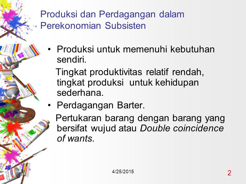 4/25/2015 2 Produksi dan Perdagangan dalam Perekonomian Subsisten Produksi untuk memenuhi kebutuhan sendiri.