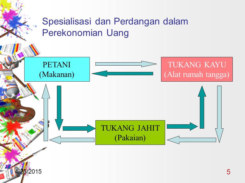 4/25/2015 5 Spesialisasi dan Perdangan dalam Perekonomian Uang PETANI (Makanan) TUKANG KAYU (Alat rumah tangga) TUKANG JAHIT (Pakaian)