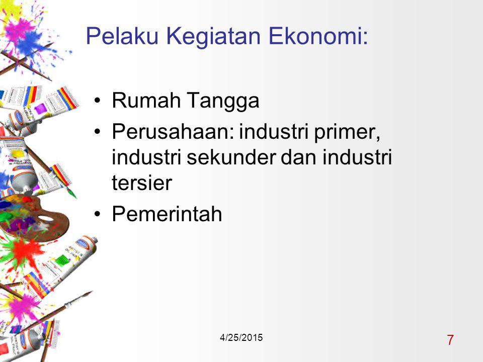 4/25/2015 7 Pelaku Kegiatan Ekonomi: Rumah Tangga Perusahaan: industri primer, industri sekunder dan industri tersier Pemerintah