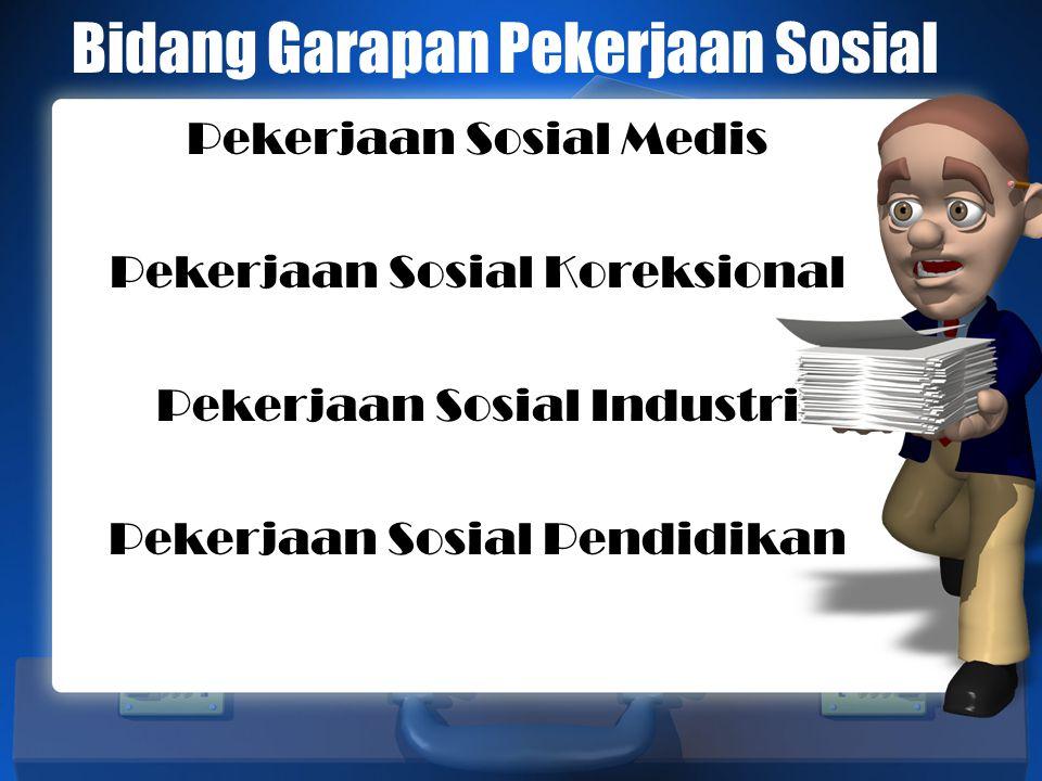 Bidang Garapan Pekerjaan Sosial Pekerjaan Sosial Medis Pekerjaan Sosial Koreksional Pekerjaan Sosial Industri Pekerjaan Sosial Pendidikan