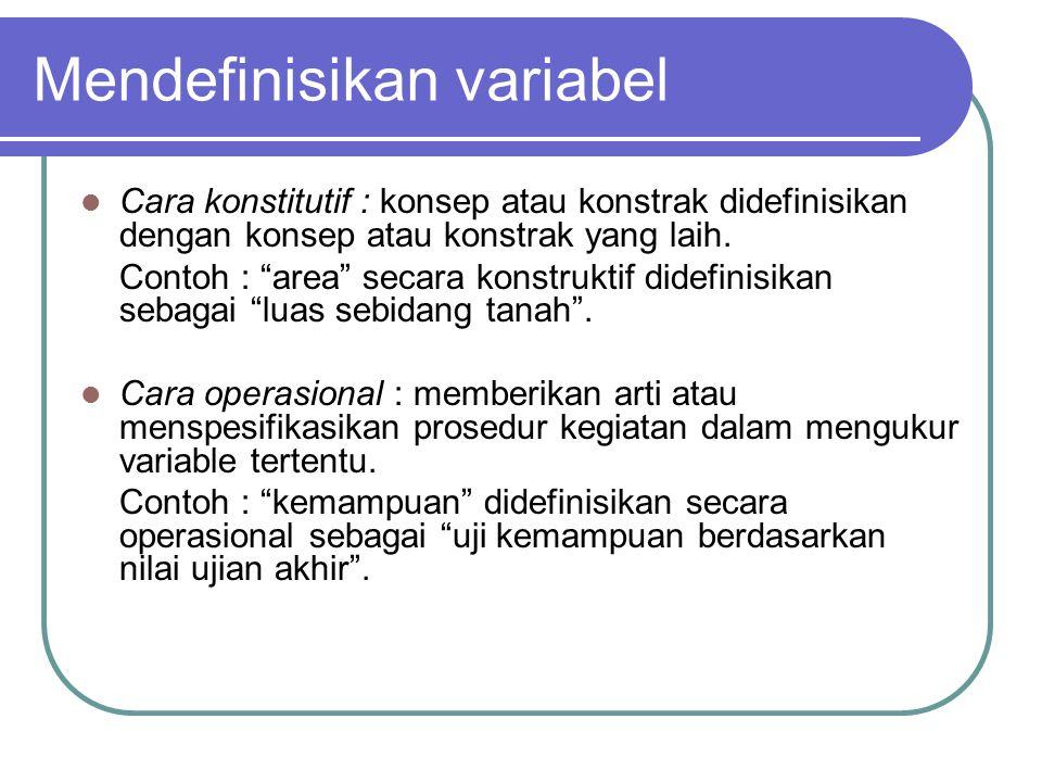 """Mendefinisikan variabel Cara konstitutif : konsep atau konstrak didefinisikan dengan konsep atau konstrak yang laih. Contoh : """"area"""" secara konstrukti"""