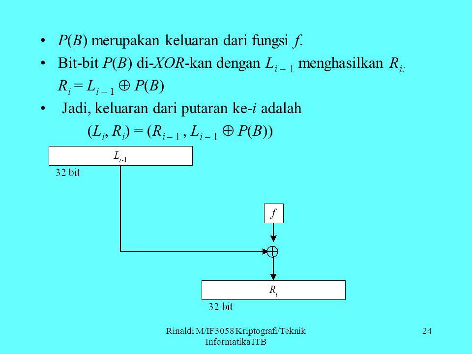 Rinaldi M/IF3058 Kriptografi/Teknik Informatika ITB P(B) merupakan keluaran dari fungsi f. Bit-bit P(B) di-XOR-kan dengan L i – 1 menghasilkan R i: R