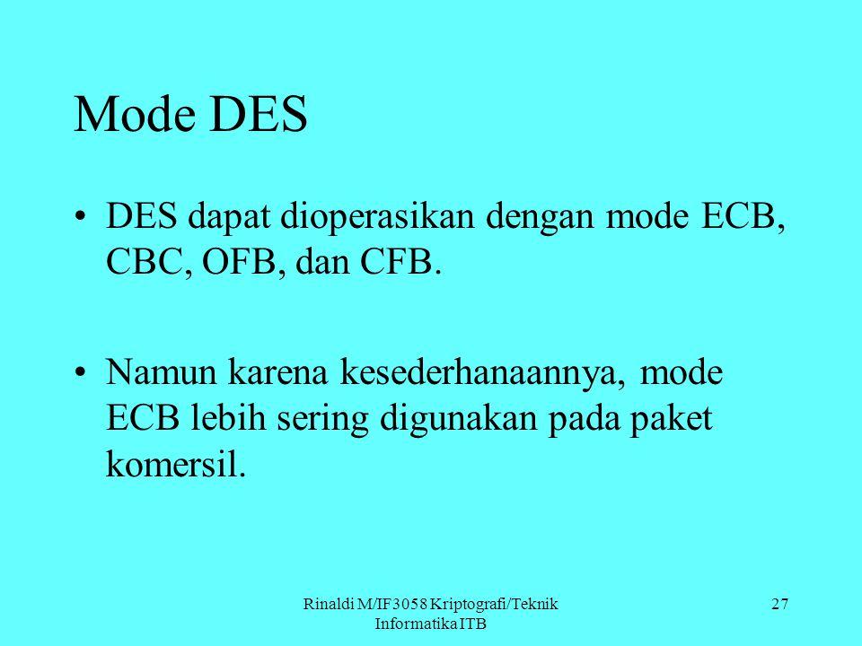 Rinaldi M/IF3058 Kriptografi/Teknik Informatika ITB Mode DES DES dapat dioperasikan dengan mode ECB, CBC, OFB, dan CFB. Namun karena kesederhanaannya,