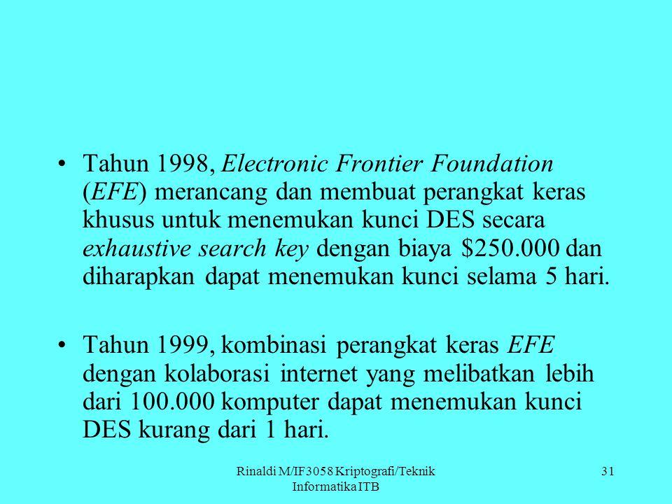 Rinaldi M/IF3058 Kriptografi/Teknik Informatika ITB Tahun 1998, Electronic Frontier Foundation (EFE) merancang dan membuat perangkat keras khusus untu