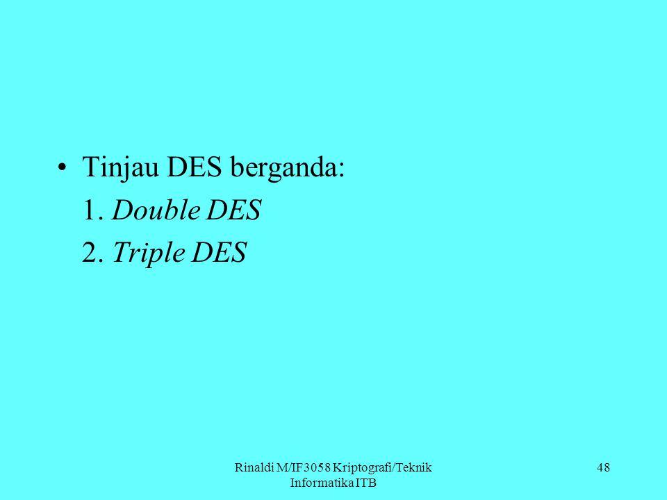 Rinaldi M/IF3058 Kriptografi/Teknik Informatika ITB Tinjau DES berganda: 1. Double DES 2. Triple DES 48